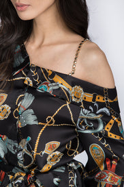 Black Silk Scarf Print Top