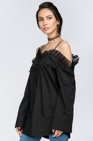 Fatima Almomen - Black Tulle Ruffle off the shoulder Top
