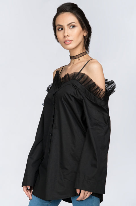 Fatima Almomen - Black Tulle Ruffle off the shoulder Top 193