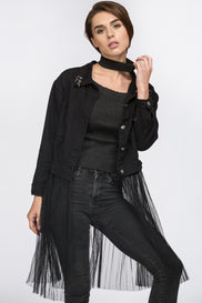 Black Two Piece Denim Jacket with Removable Mesh