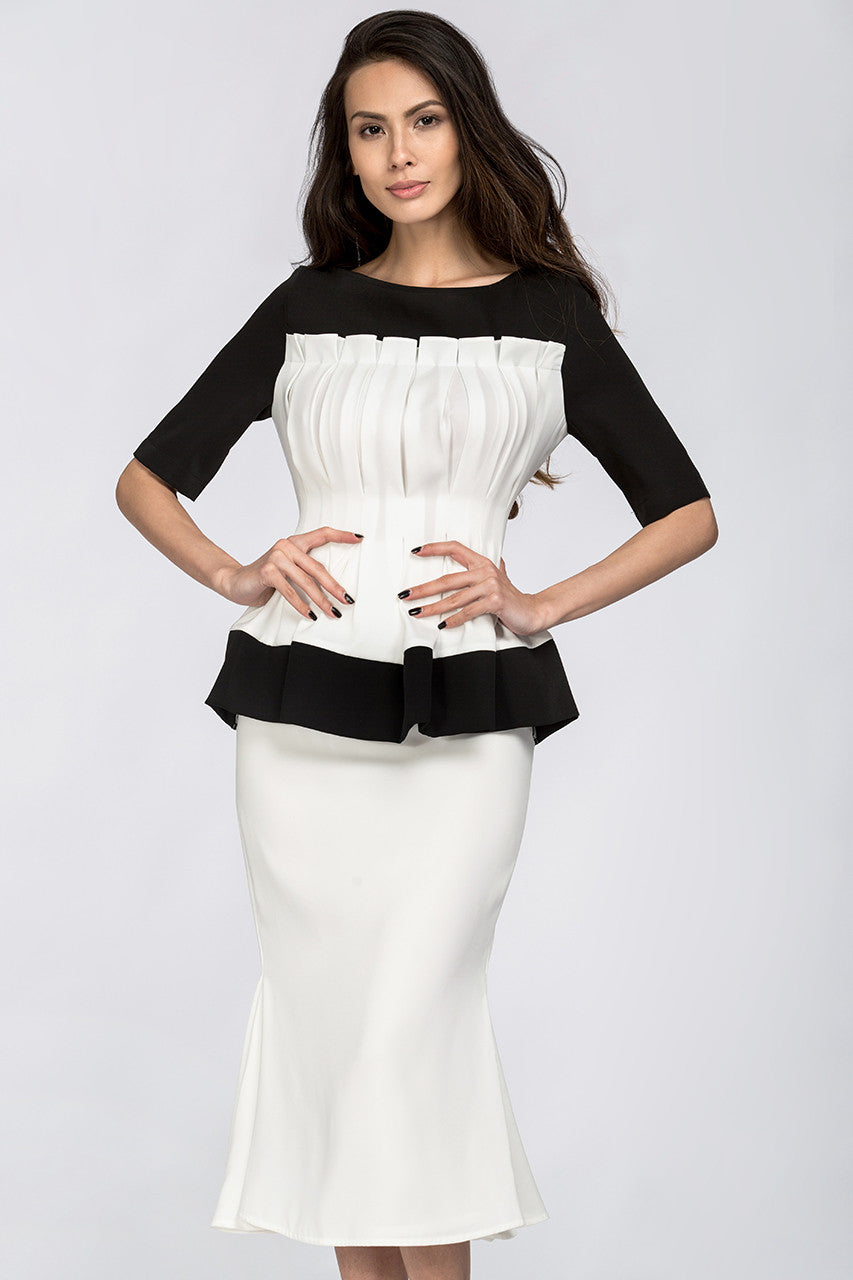 Black & White Boat neck Yoke Peplum Midi Dress