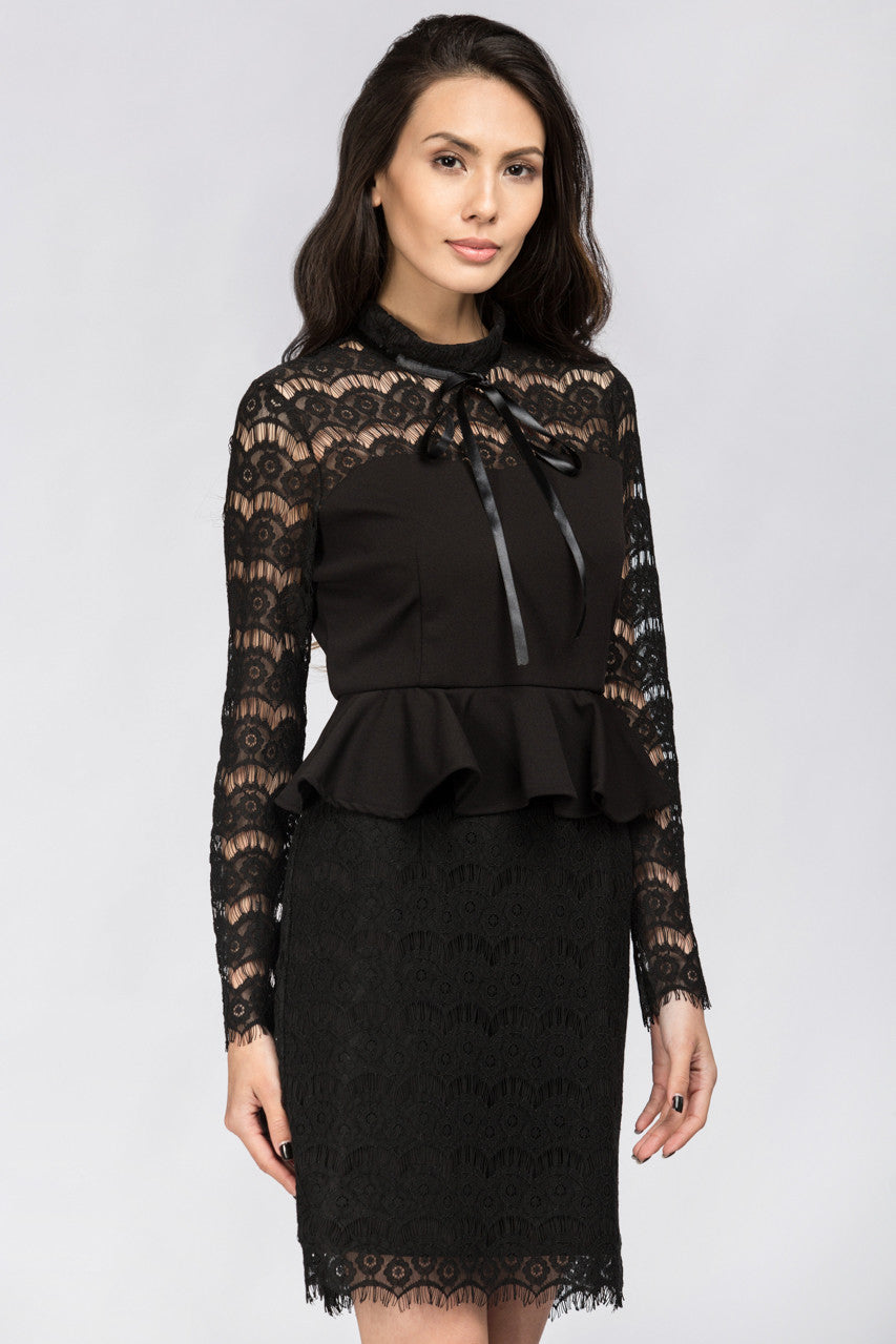 Black Yoke Lace Peplum Mini Dress