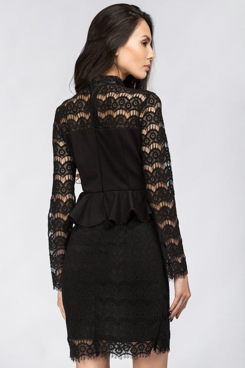 Black Yoke Lace Peplum Mini Dress 97