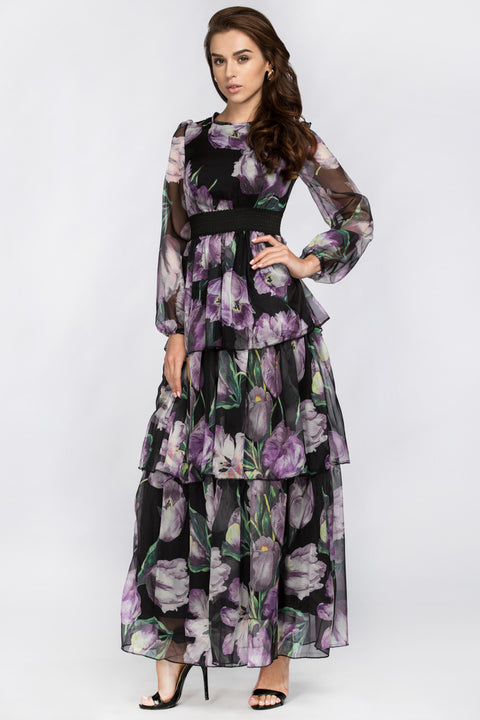 Black and Purple Tulip Tiered Maxi Dress 56