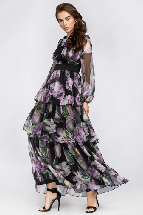 Black and Purple Tulip Tiered Maxi Dress 139
