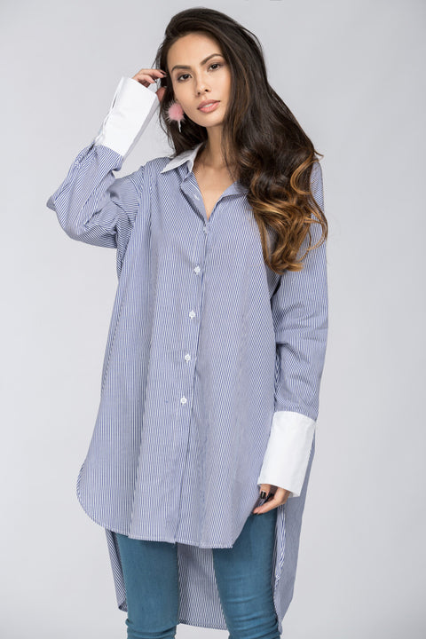 Blue Candy Stripe Boyfriend Shirt 68