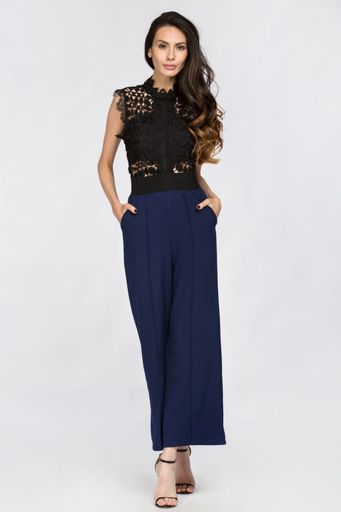 Blue Lace Embroidered Top Jumpsuit 188