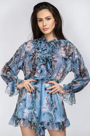 Blue Sheer Floral Print Playsuit