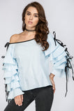 Blue Tiered Ruffle Sleeve Off the Shoulder Top