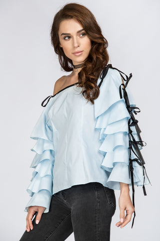 Blue Tiered Ruffle Sleeve Off the Shoulder Top 79