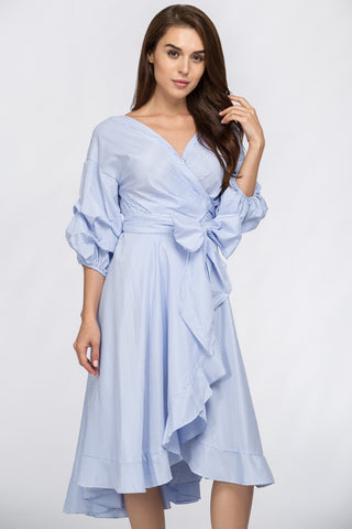 Fatima Almomen - Blue Wrap Around Summer Dress 8