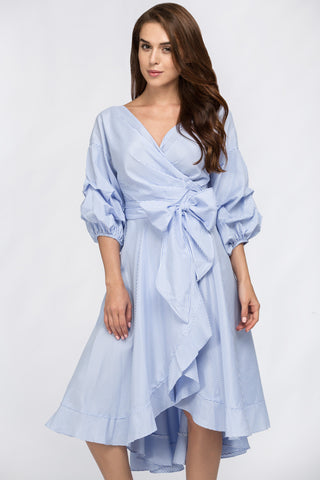 Fatima Almomen - Blue Wrap Around Summer Dress 15