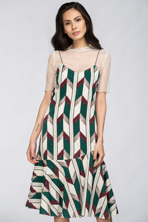 Dana AlTuwairsh - Chevron Two Piece Princess Midi Dress 38