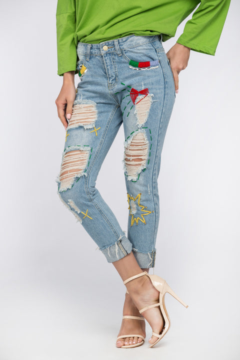 Comic Ripped Jeans