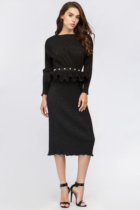 Dana AlTuwairsh - Black Galaxy Peplum Midi Dress 156