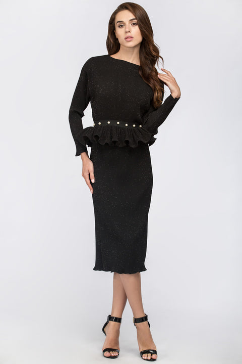 Dana AlTuwairsh - Black Galaxy Peplum Midi Dress 157