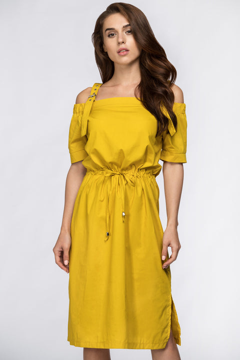 Mustard Off the Shoulder Belted Strap 245