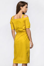 Mustard Off the Shoulder Belted Strap