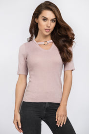Pink Glimmer Ring Choker Top