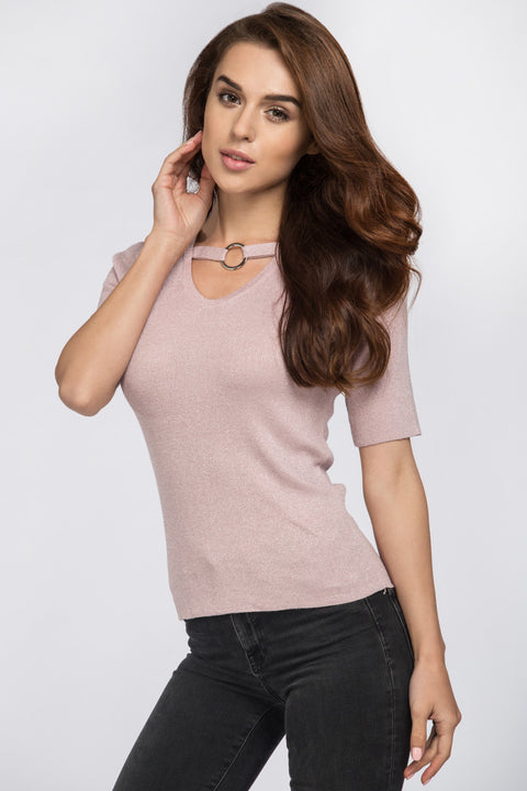 Pink Glimmer Ring Choker Top 81