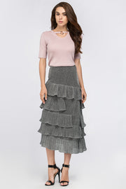 Silver Dust Ruffled Midi Skirt