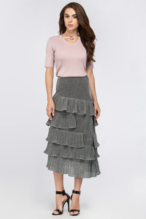 Silver Dust Ruffled Midi Skirt 205