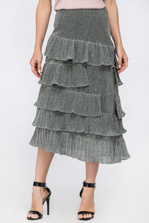 Silver Dust Ruffled Midi Skirt 206