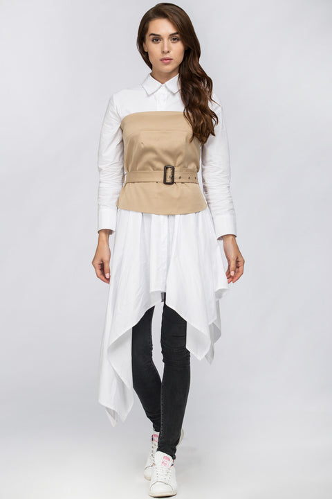 White Belt Corset Midi Dress 214