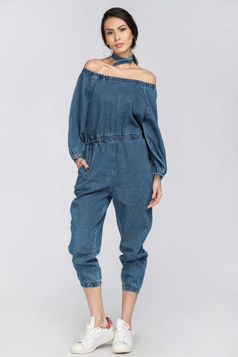 Denim Choker Jumpsuit 227