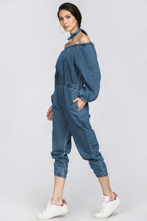 Denim Choker Jumpsuit
