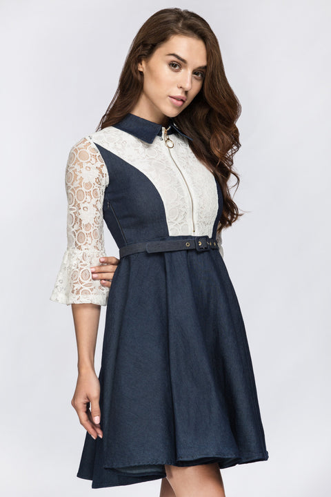 Denim Lace Midi Dress 194