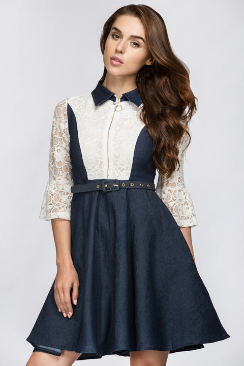 Denim Lace Midi Dress 195
