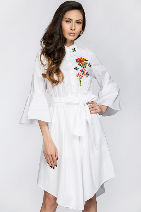 Deema Al Asadi - Embroidered White Shirt Princess Midi Dress 164