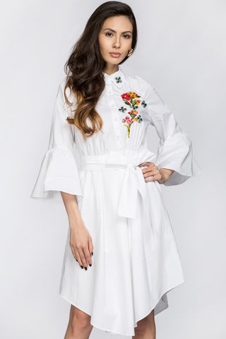 Deema Al Asadi - Embroidered White Shirt Princess Midi Dress 80
