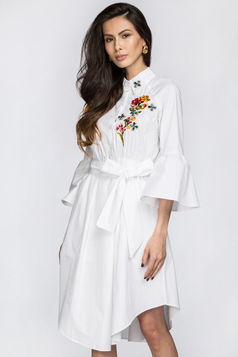 Deema Al Asadi - Embroidered White Shirt Princess Midi Dress 77