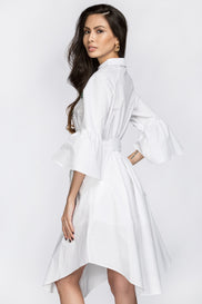 Deema Al Asadi - Embroidered White Shirt Princess Midi Dress