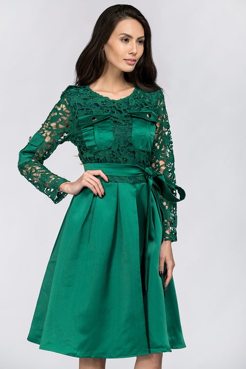 Emerald Green Sleeved Lace and Satin Midi Dress 86