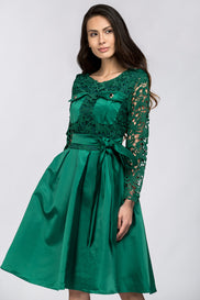 Emerald Green Sleeved Lace and Satin Midi Dress