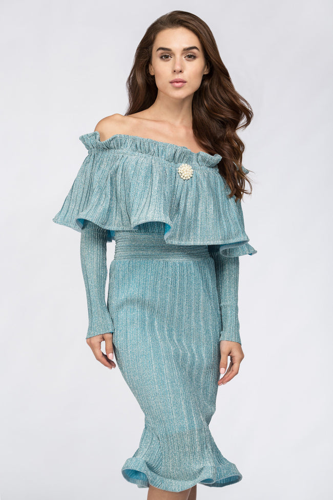 Fatima Almomen - Blue Frost Pleated Off The Shoulder Midi Dress