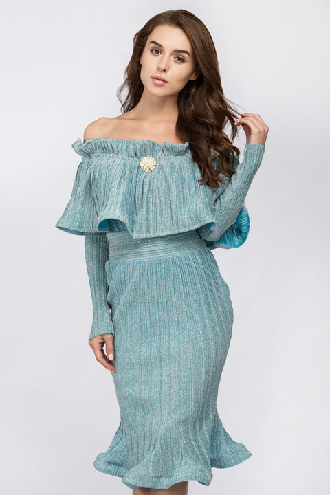 Fatima Almomen - Blue Frost Pleated Off The Shoulder Midi Dress 51