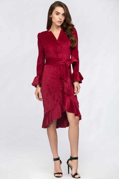 Fatima Almomen - Red Velvet Bell Sleeve Summer Midi Dress 158