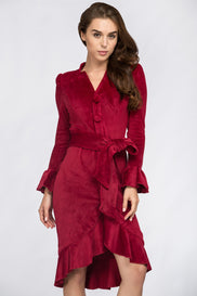 Fatima Almomen - Red Velvet Bell Sleeve Summer Midi Dress
