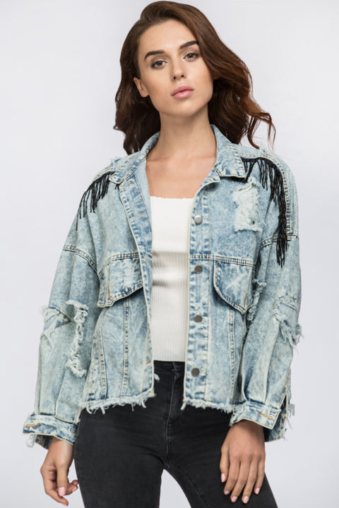 Fatima Almomen - Tassled Ripped Cropped denim Jacket 30