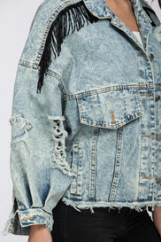 Fatima Almomen - Tassled Ripped Cropped Denim Jacket
