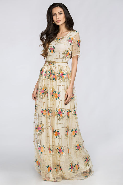 Floral Shine Layered Maxi Dress 136
