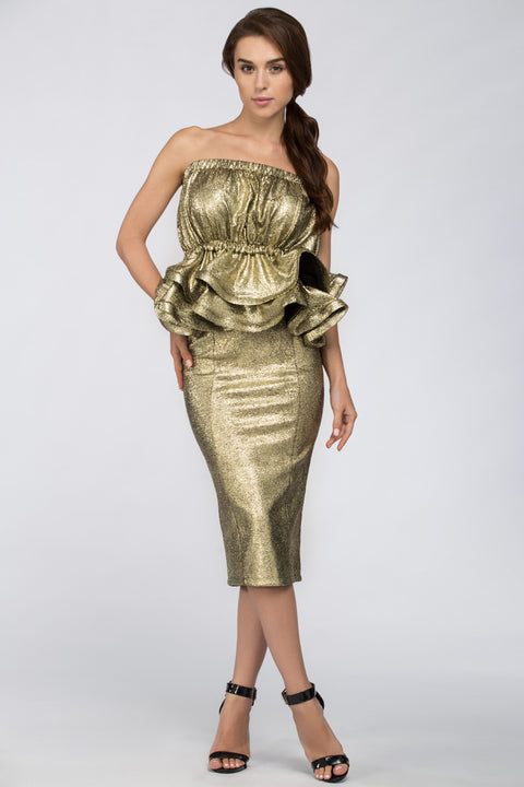 Deema Al Asadi - Gold Strapless Peplum Two-piece Midi Dress 138