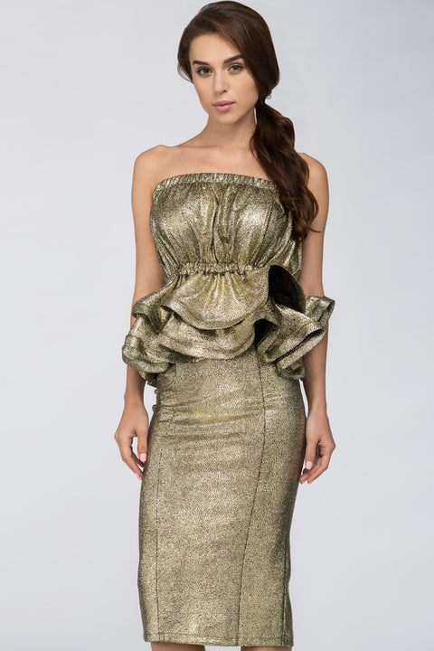 Deema Al Asadi - Gold Strapless Peplum Two-piece Midi Dress 139