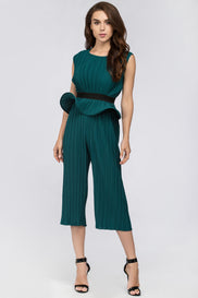 Maram Zbaeda - Green Jade Pleated Sleeveless Peplum Three-piece Set