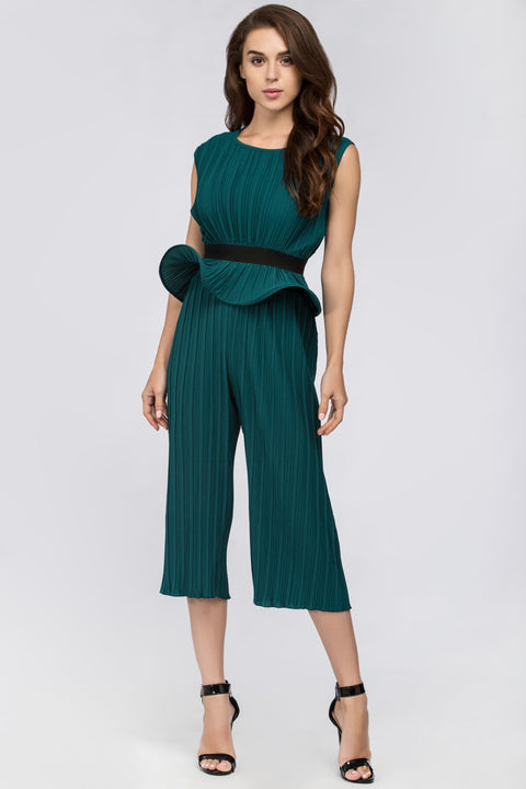 Green Jade Pleated Sleeveless Peplum Jumpsuit 44
