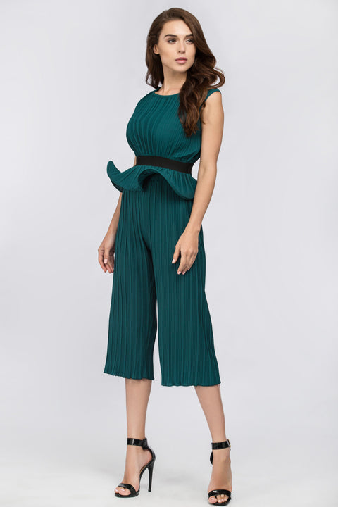 Green Jade Pleated Sleeveless Peplum Jumpsuit 212